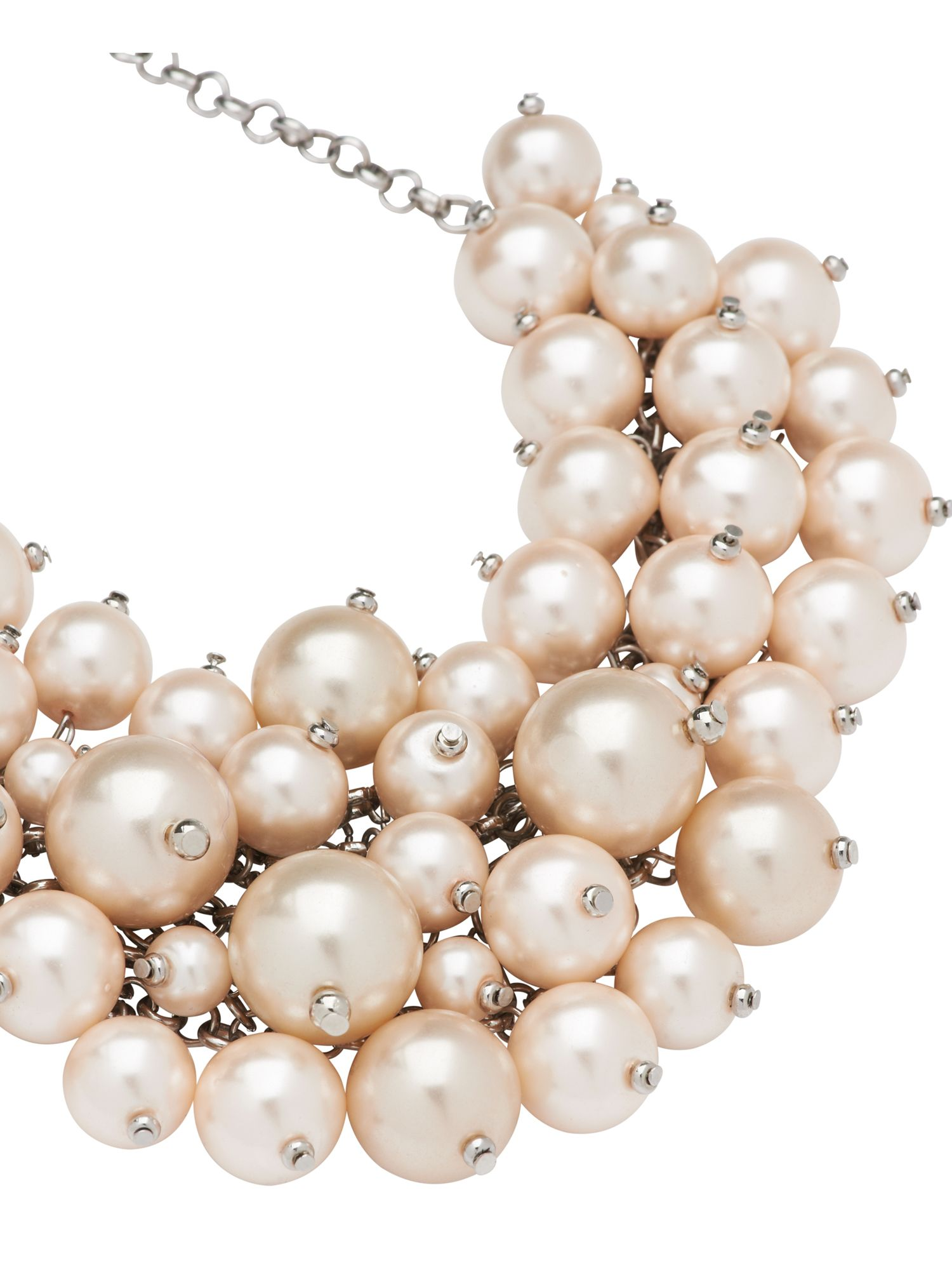 Pearl cluster bib necklace