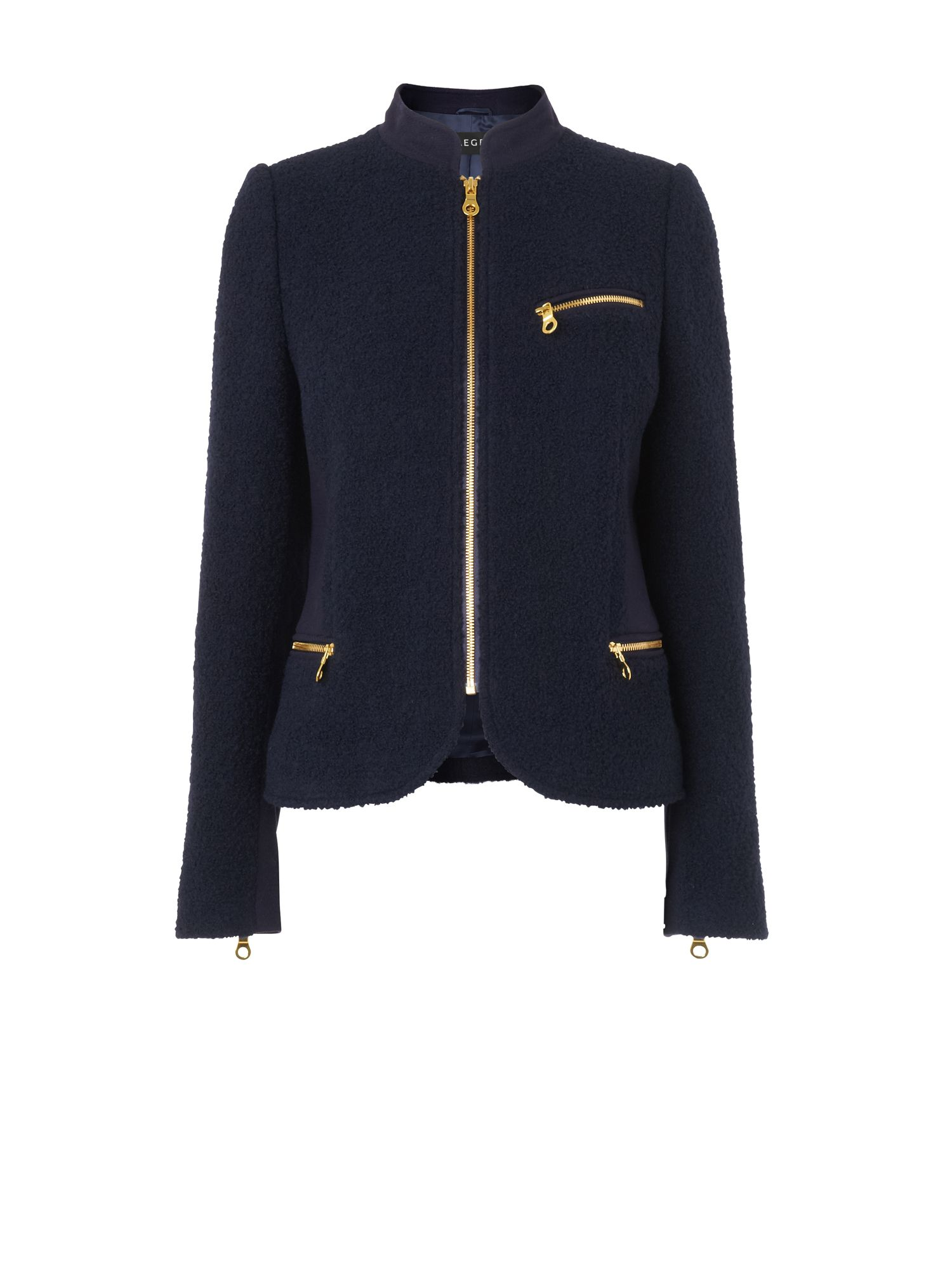Boucle jacket with gold zips