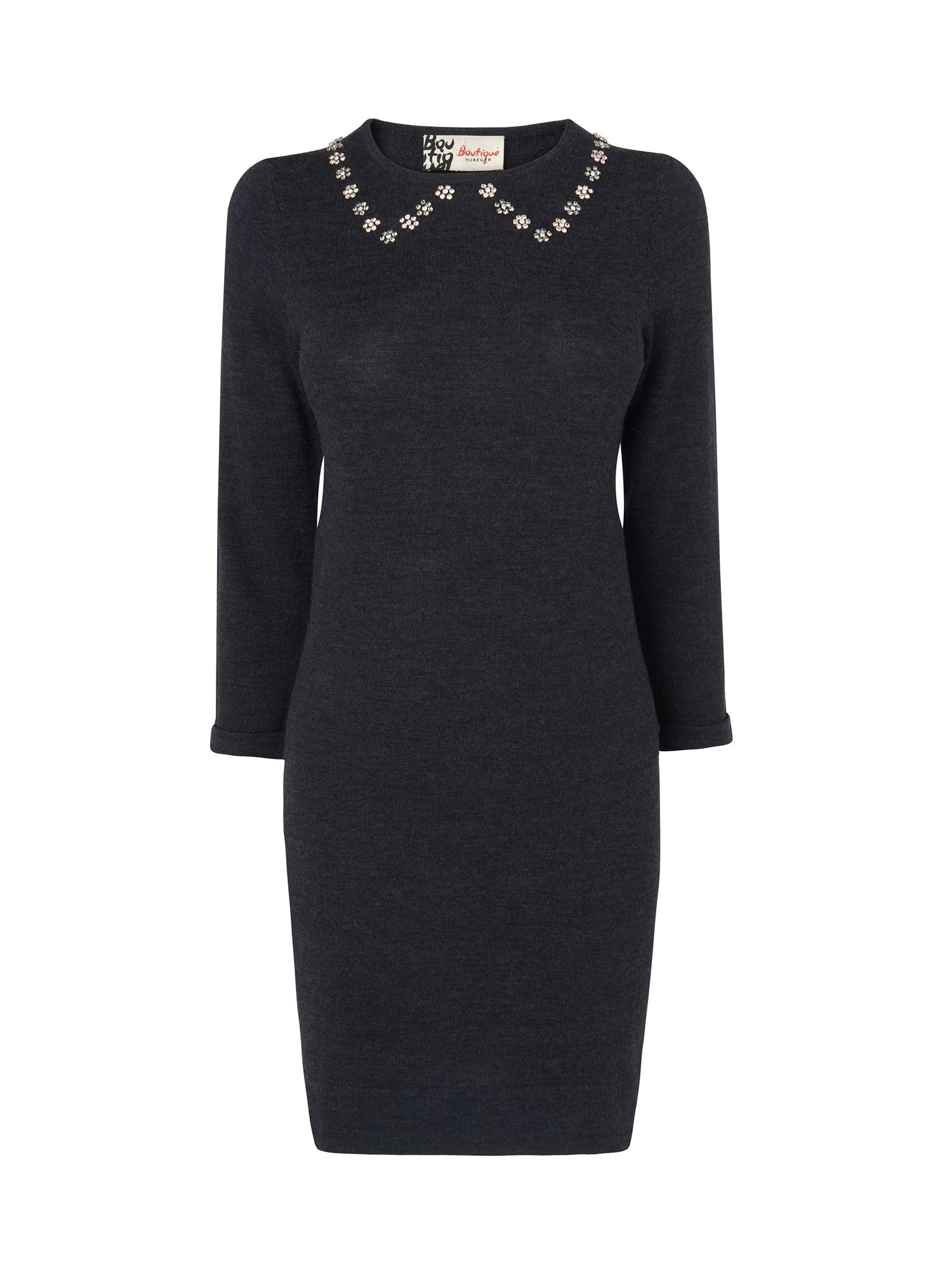 Gem collar knitted dress