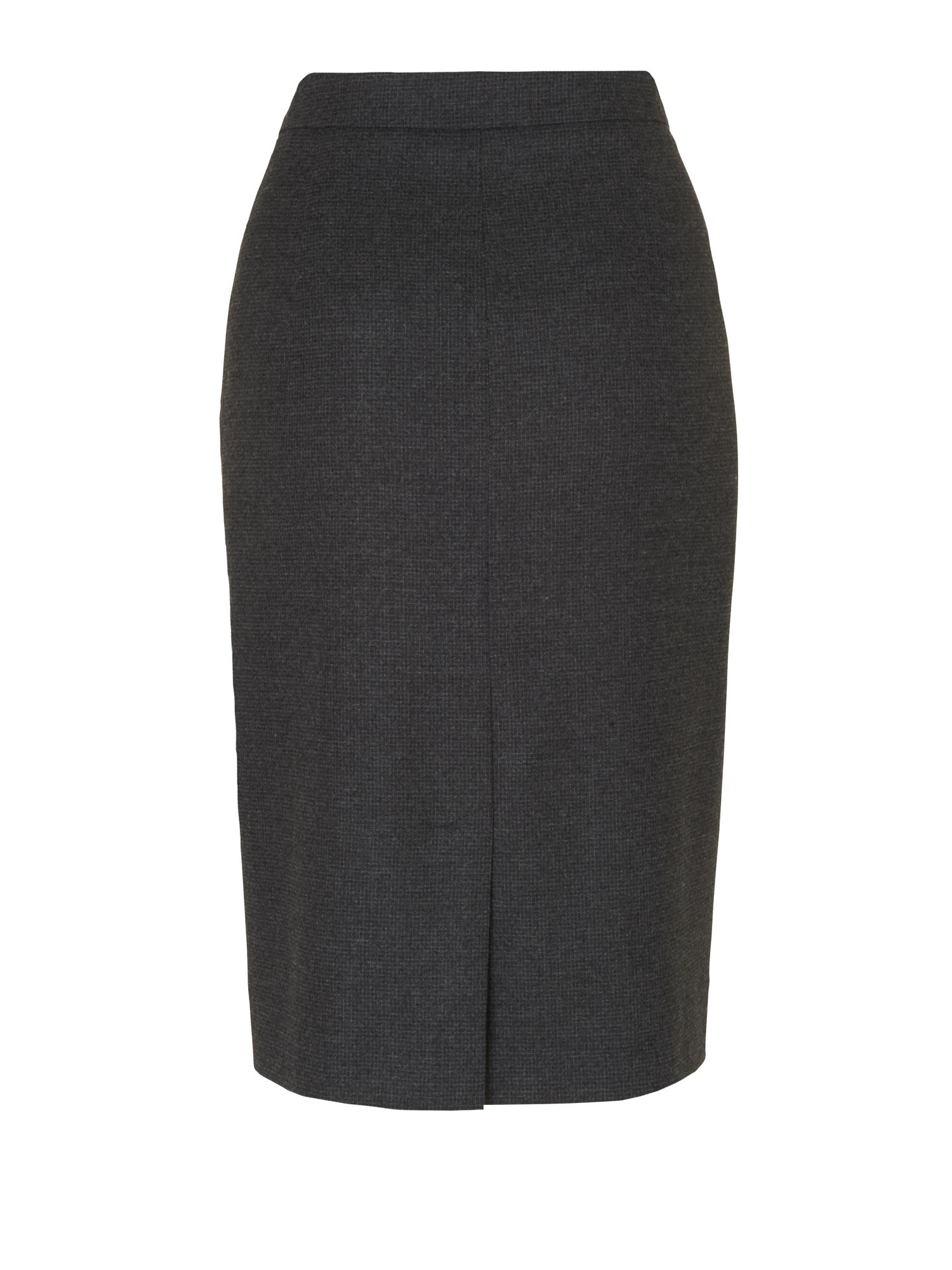 Micro check wool pencil skirt