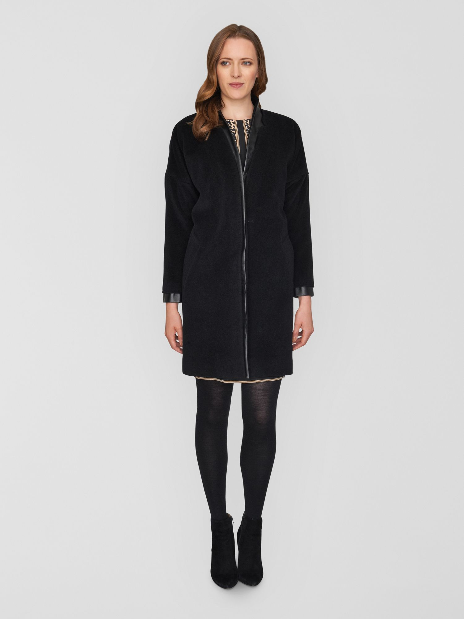Drop Shoulder Coat with Leather Trim