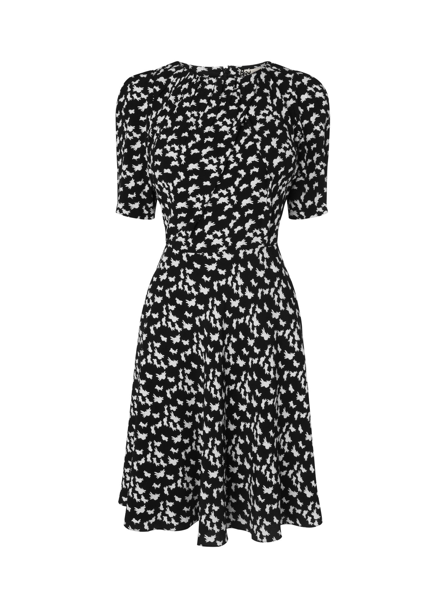 Fold neck bird print dress