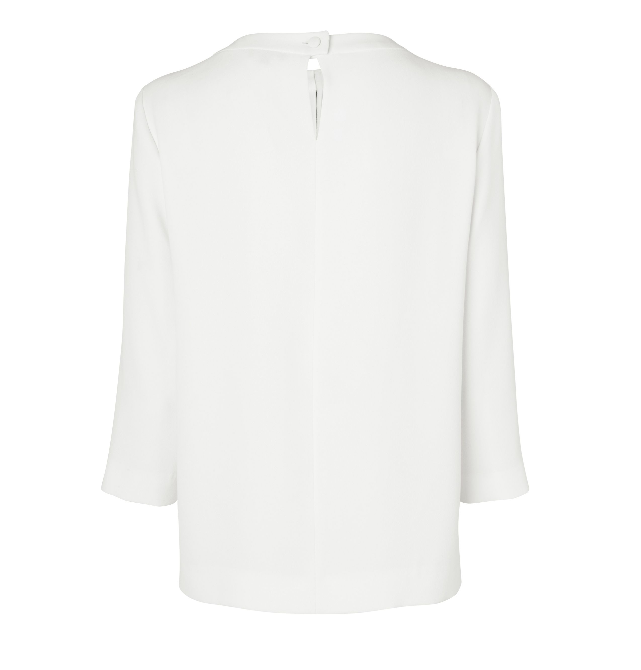 Rouched neck crepe 3/4 sleeve blouse