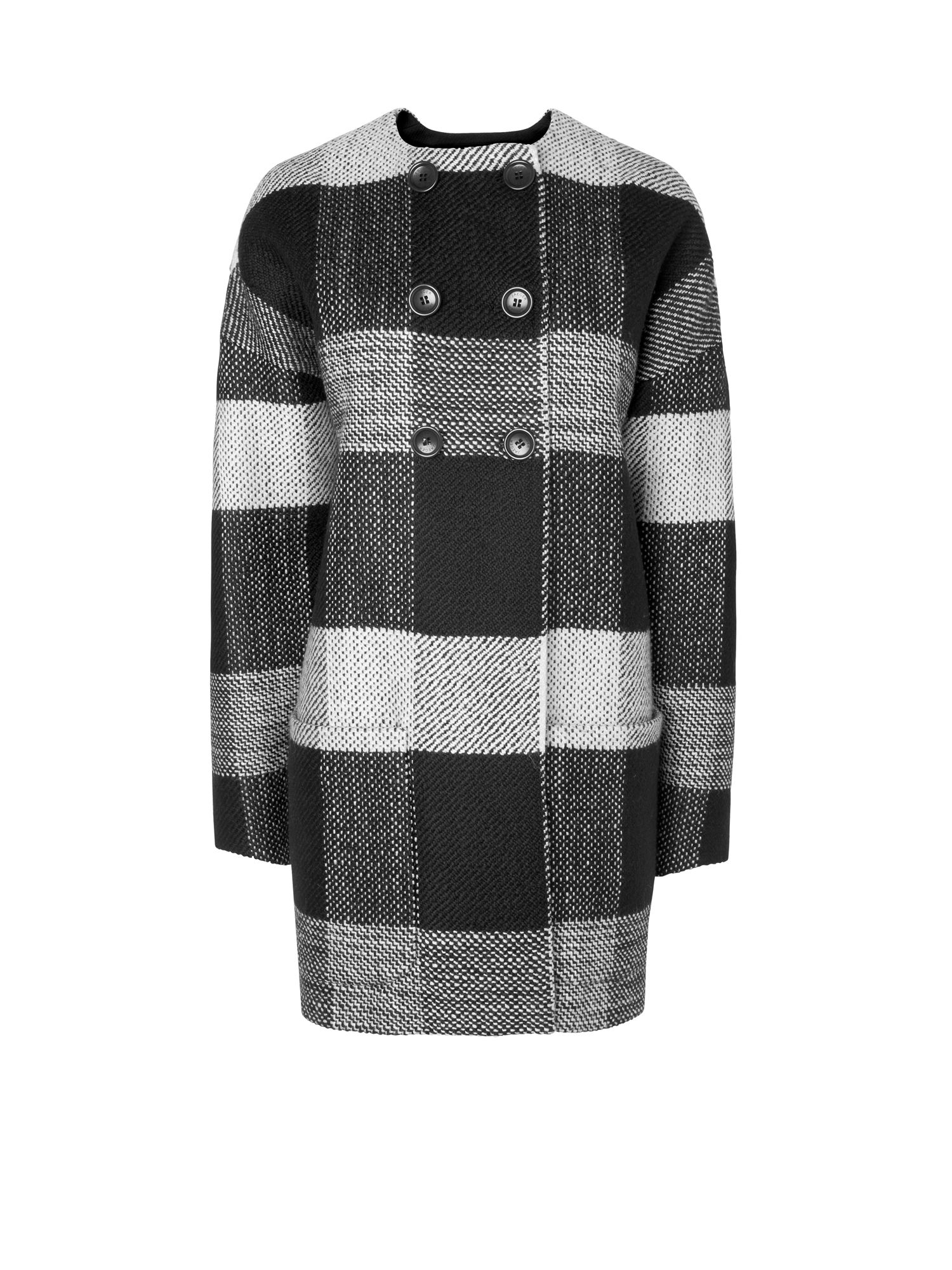 Collarless Dropped Sleeve Check Coat