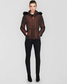 Short Quilted Jacket Faux Fur Hood