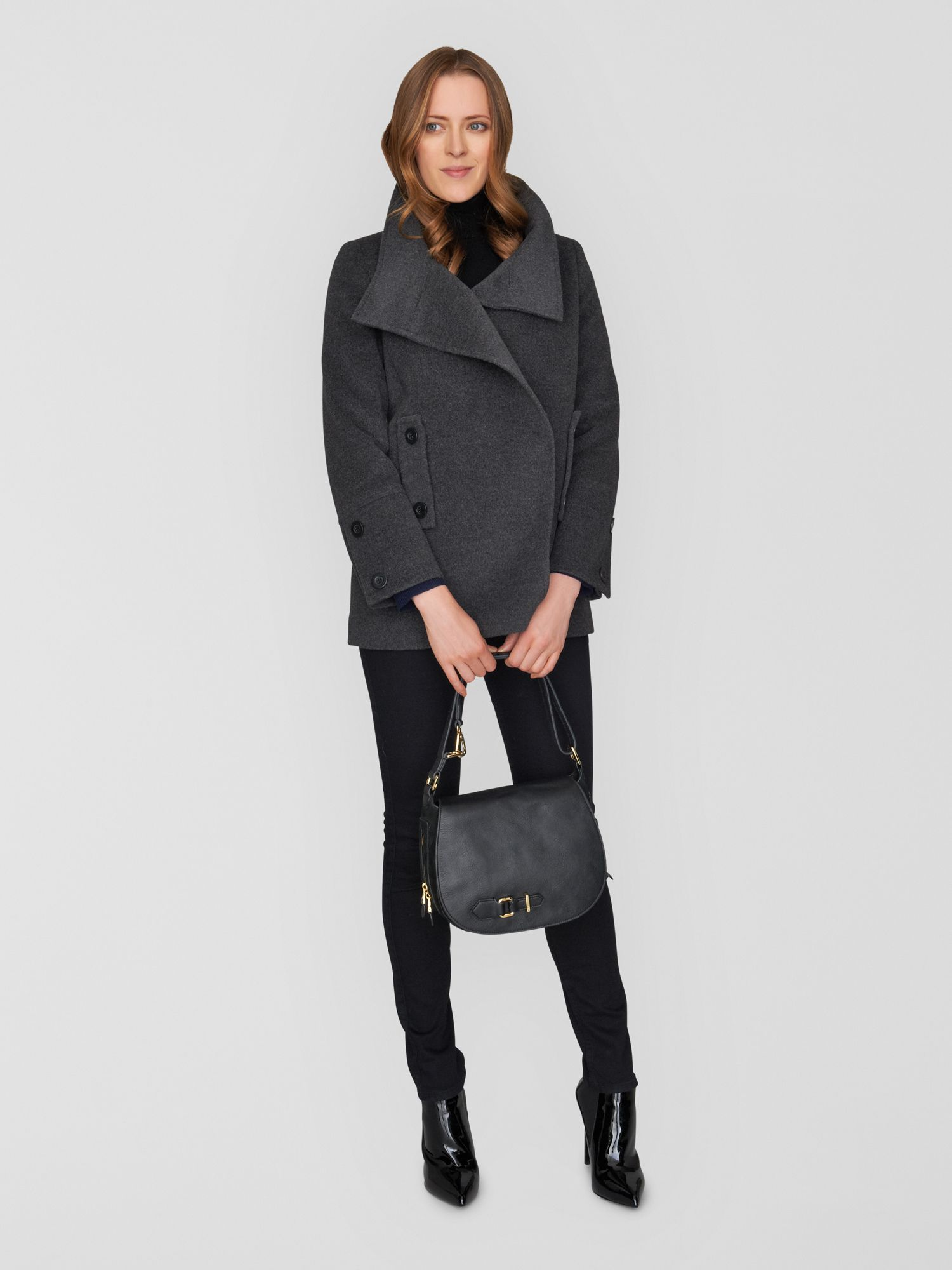 Short Wool Angora Coccon Wrap Coat
