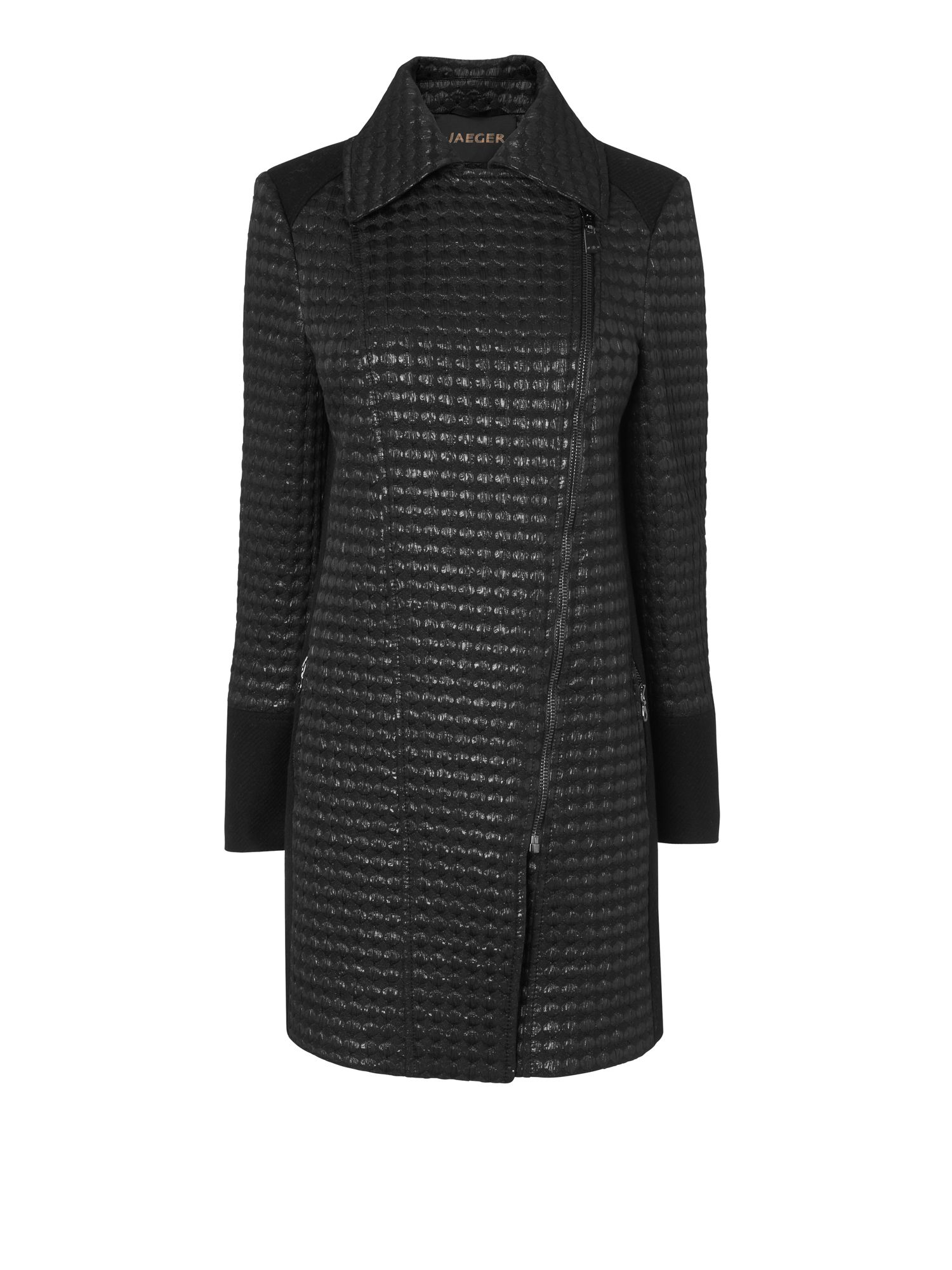 Textured Jacquard Long Biker Coat