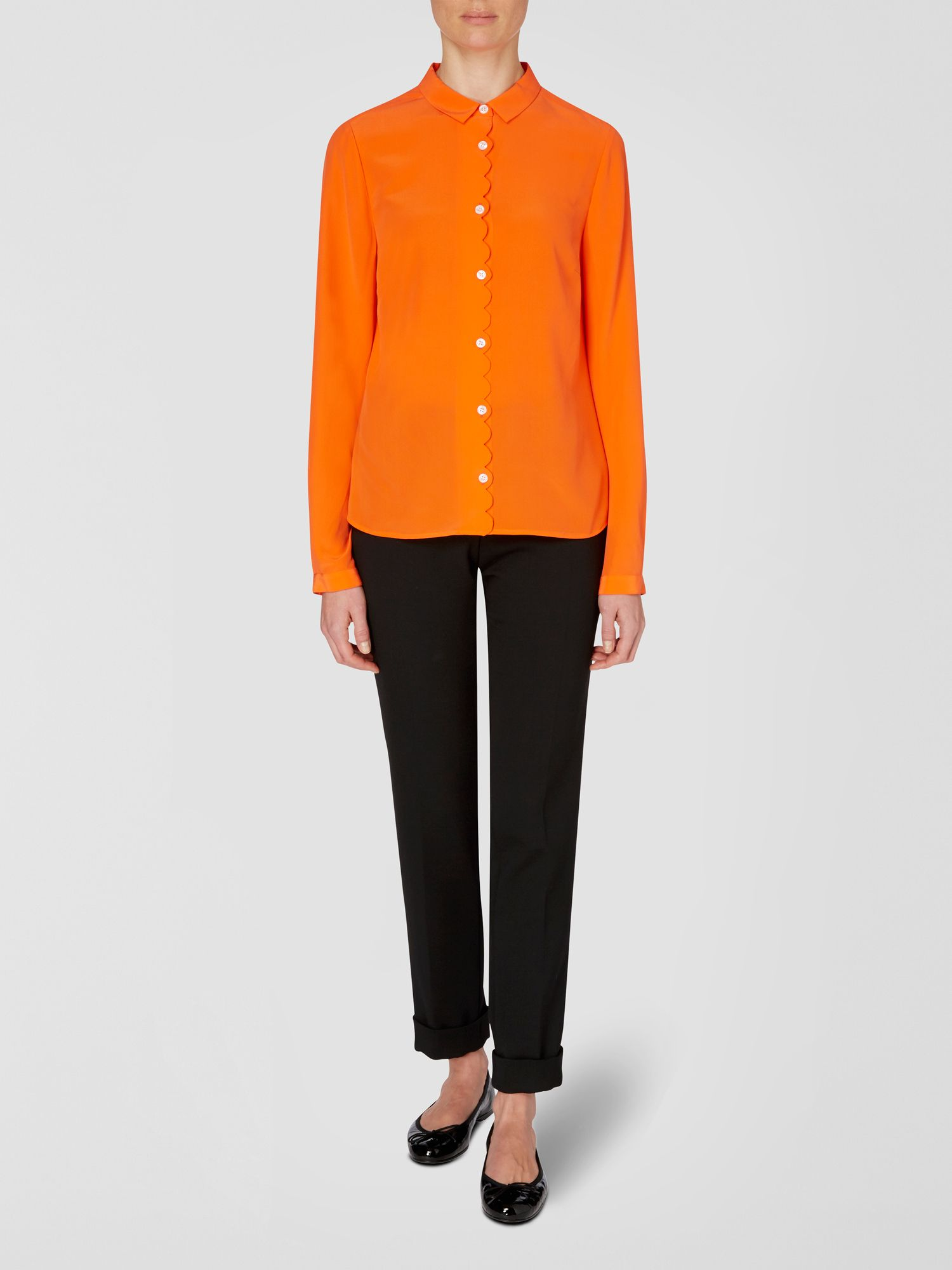 Scallop front silk blouse