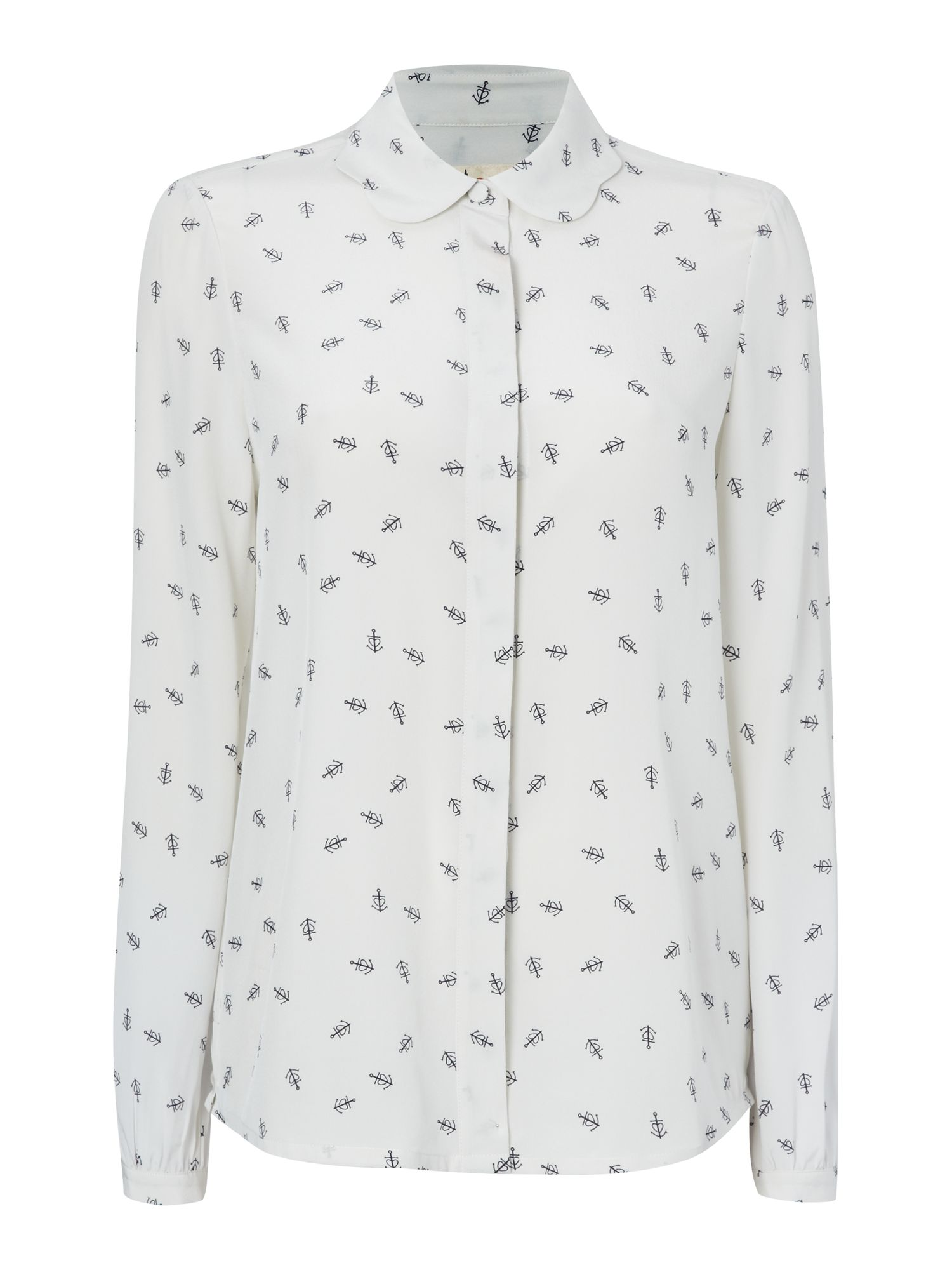 Anchor Print Scallop Collar Blouse