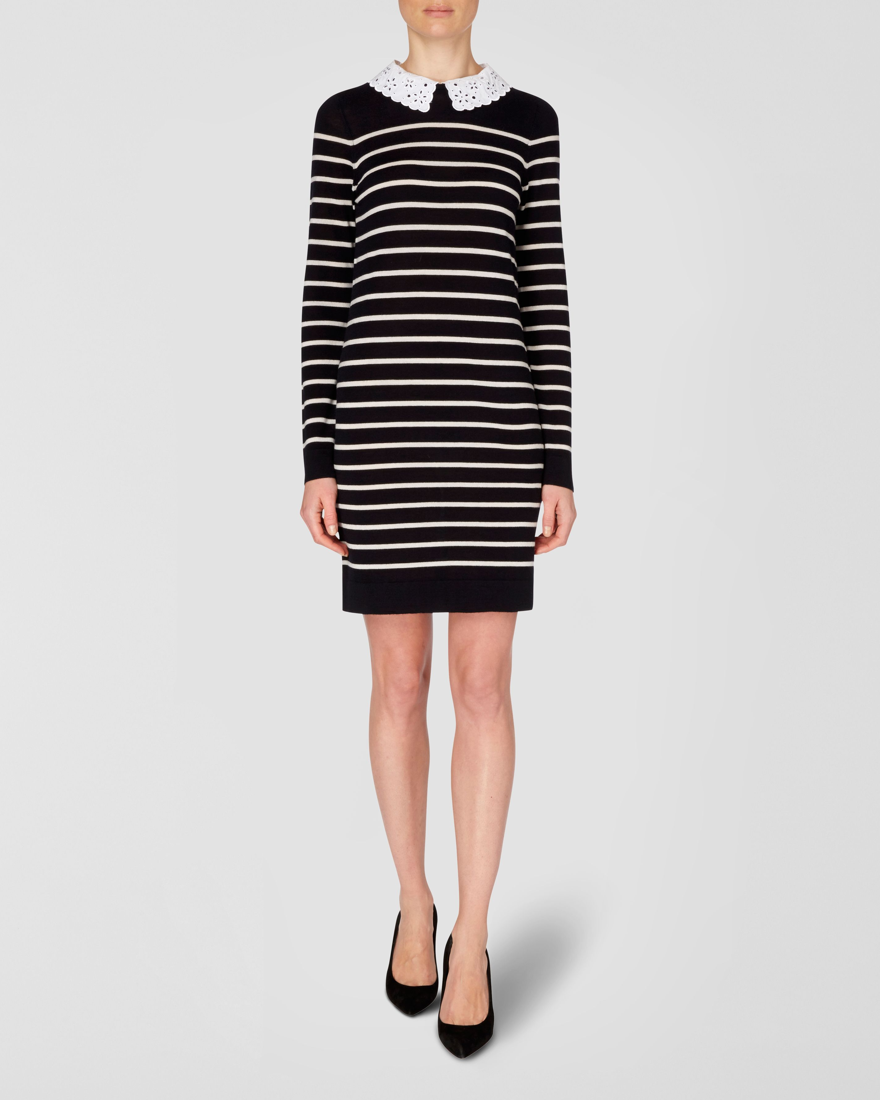 Broderie Collar Knitted Breton Dress