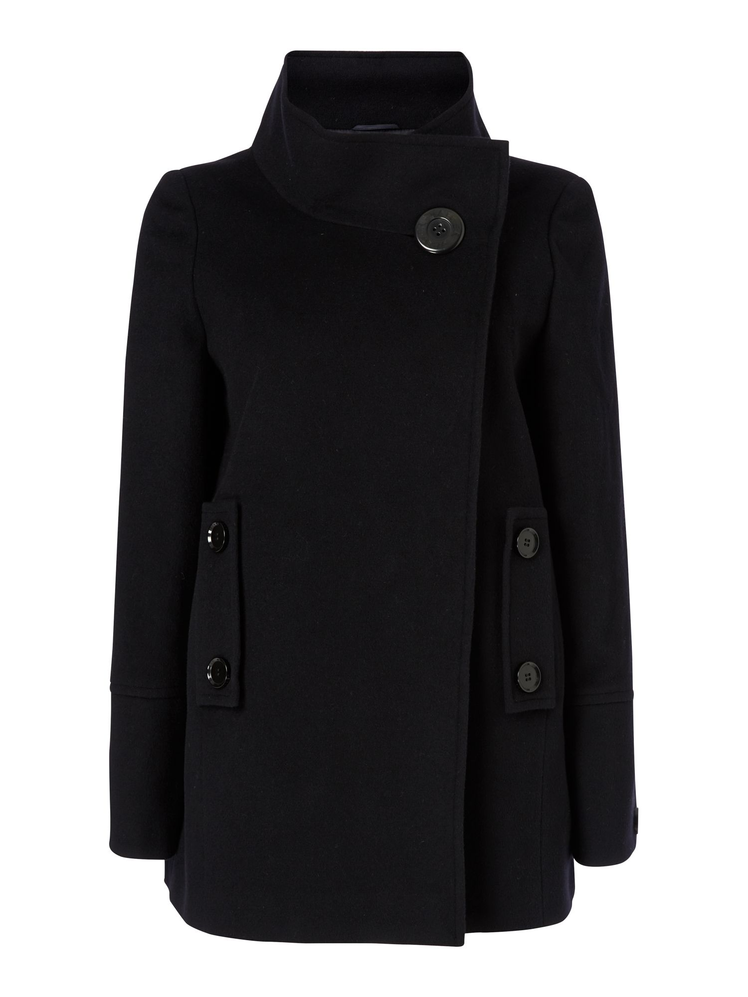 Short Wool Cocoon Funnel Neck Coat
