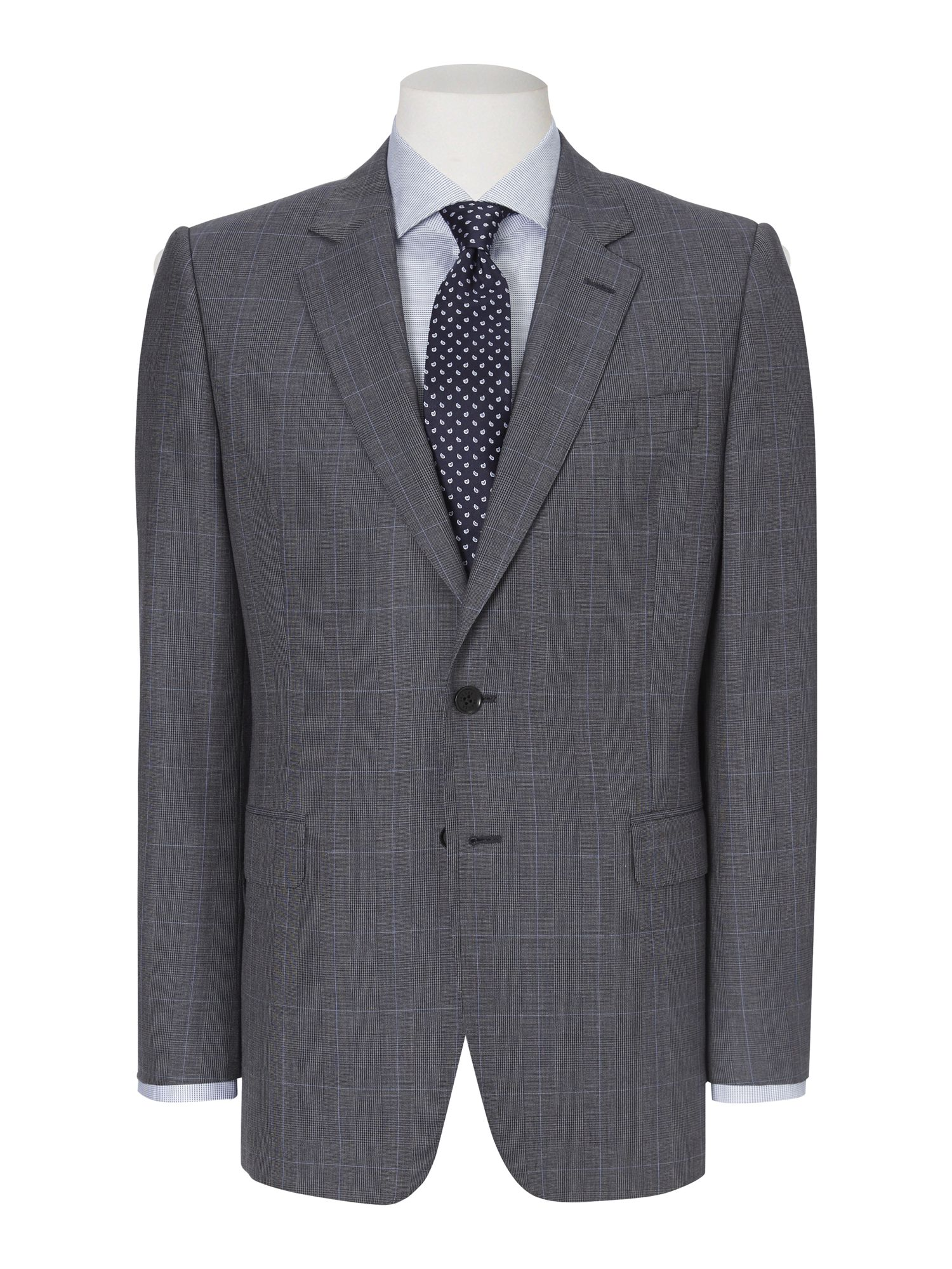 Prince of Wales check single breasted suit jacket