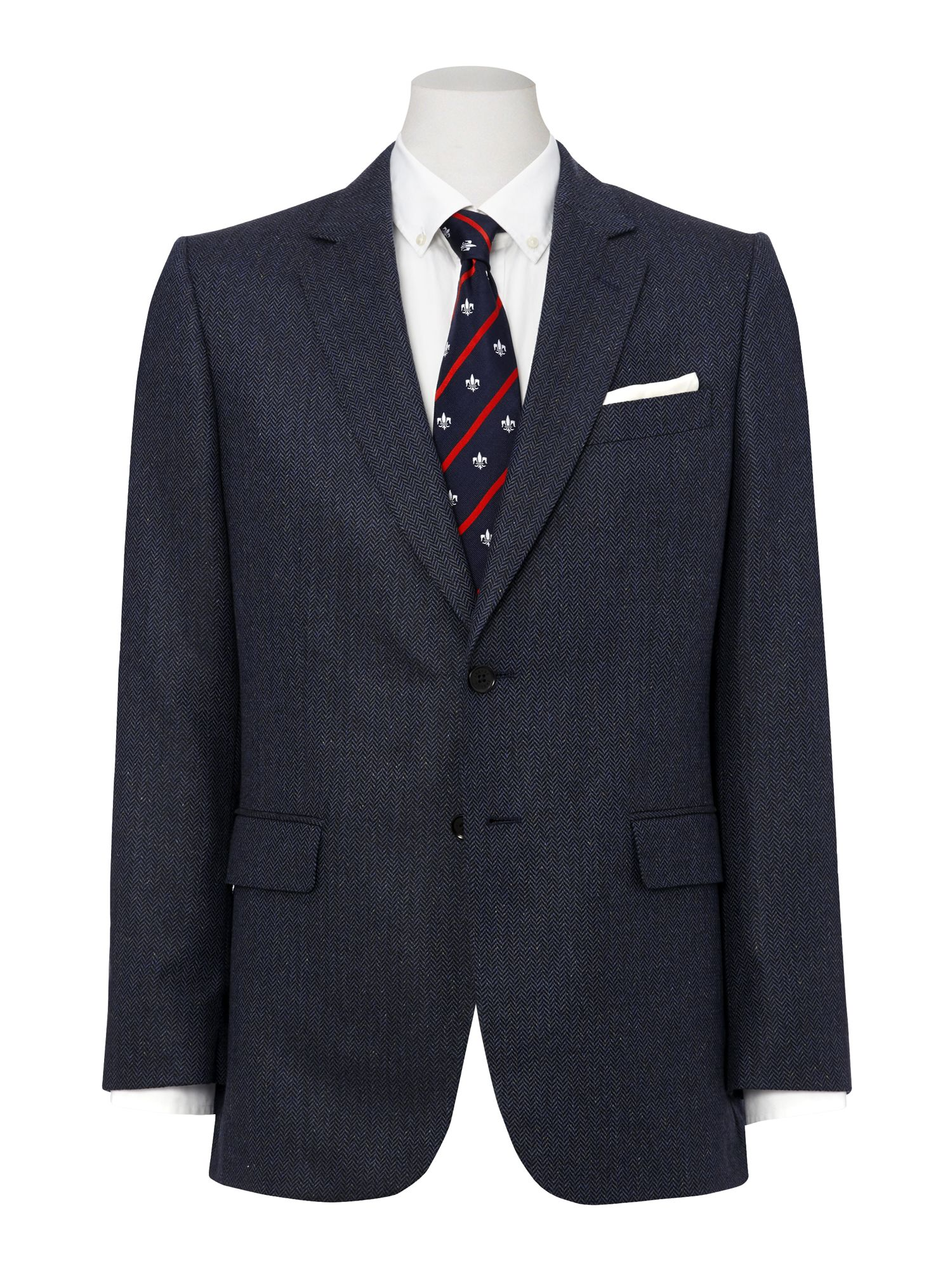 Silk herringbone suit jacket