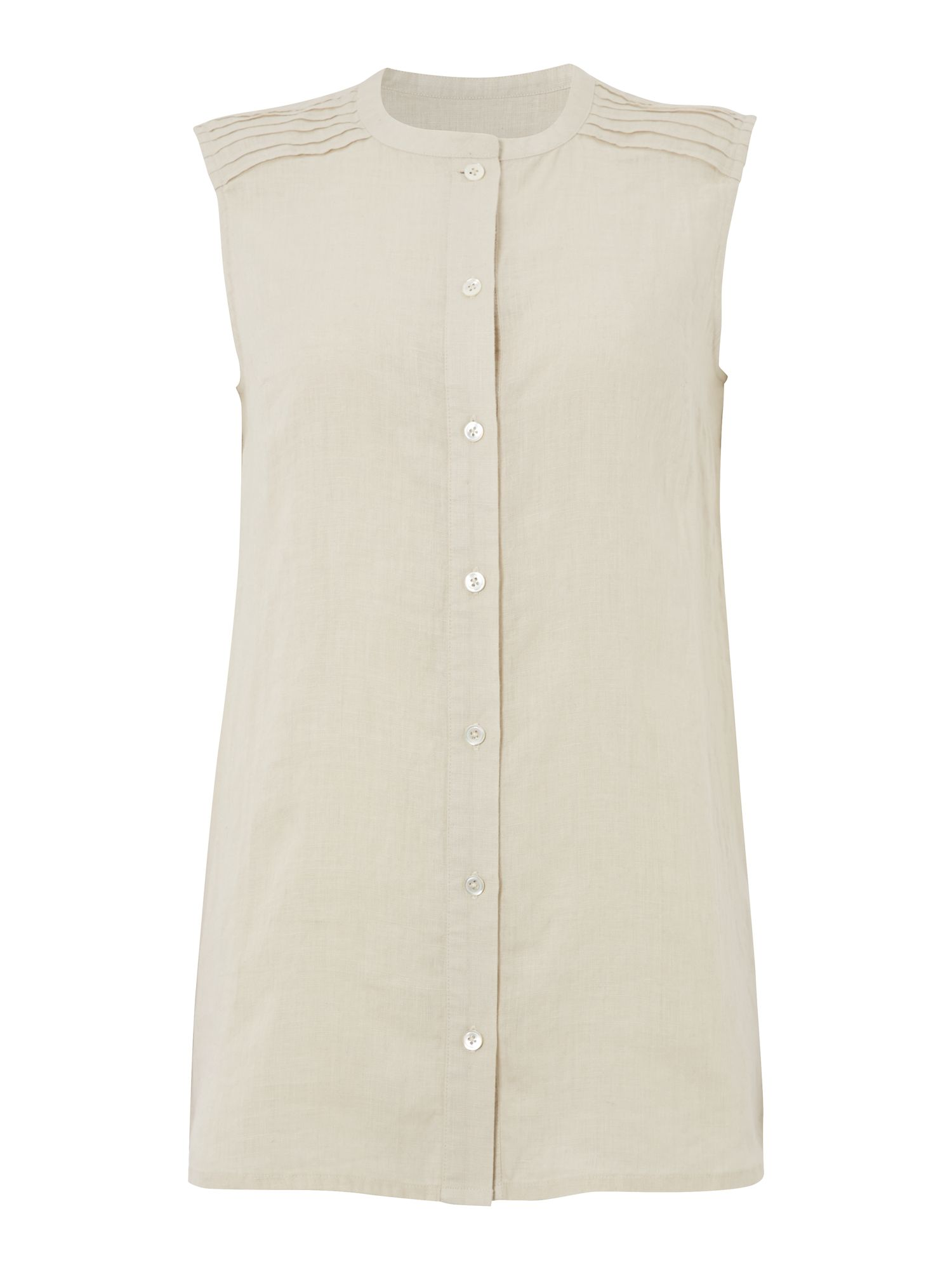 Sleeveless pintuck shirt