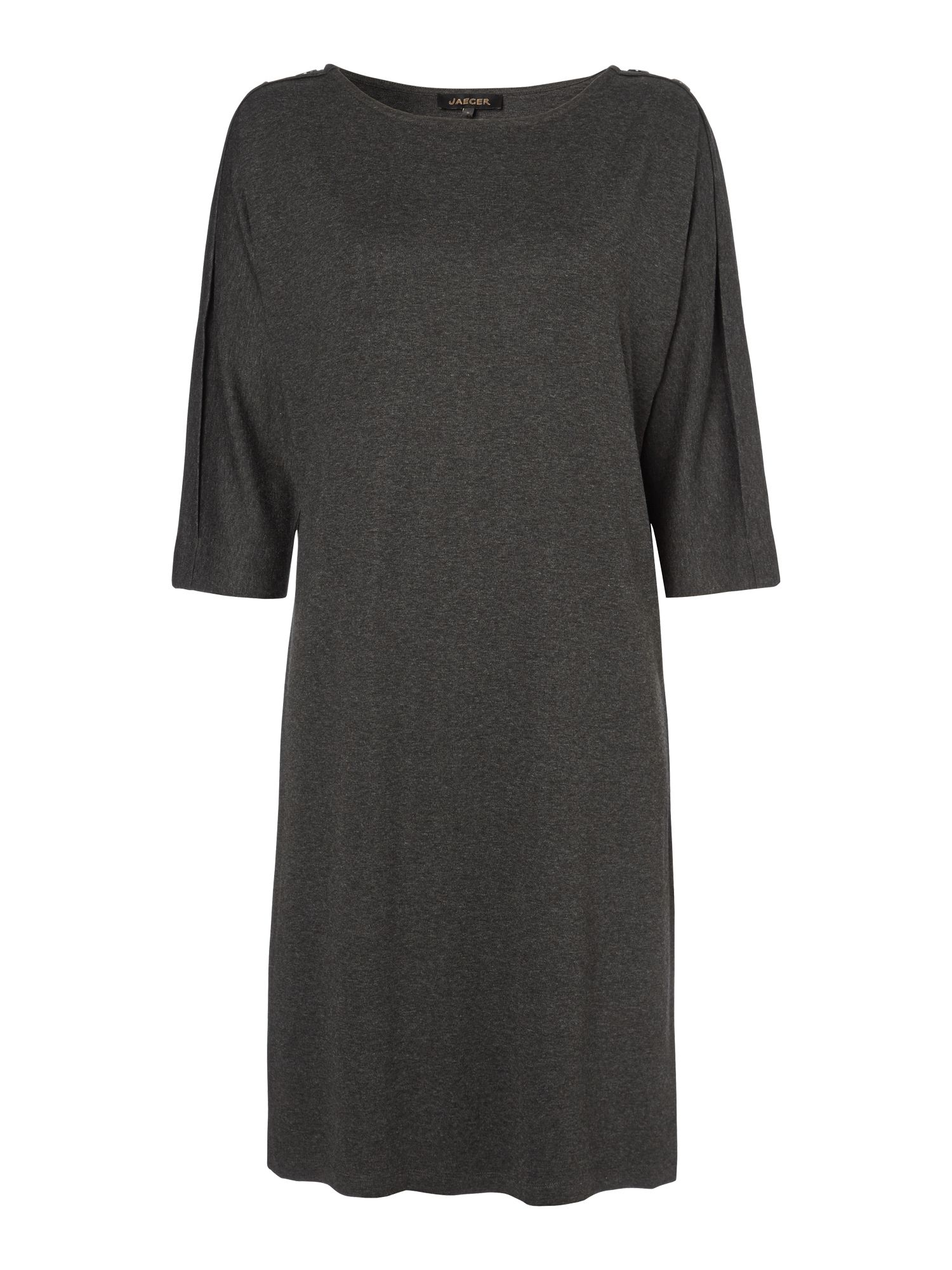 Button Shoulder Jersey Dress