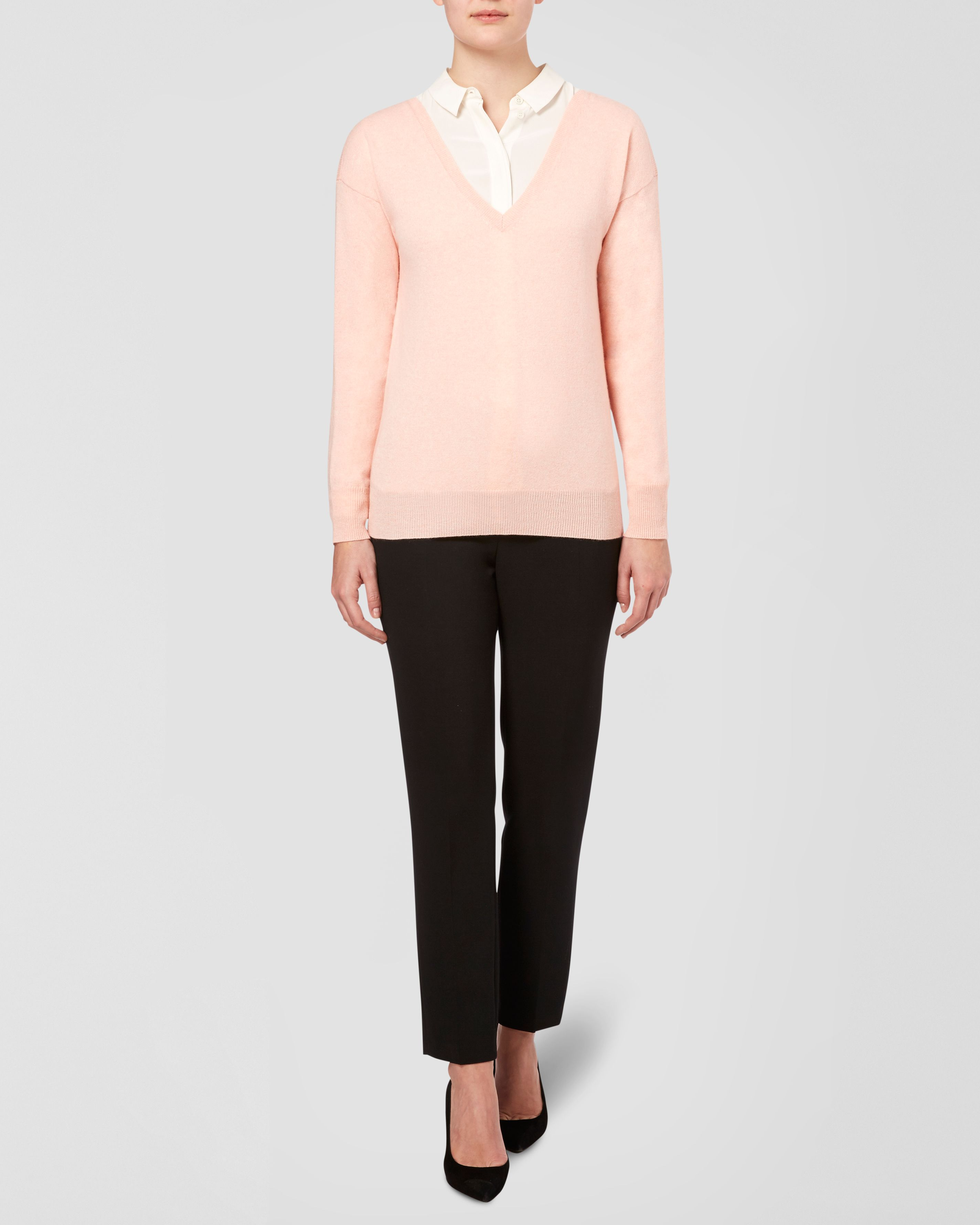 Cashmere Rib Detail V Neck Sweater
