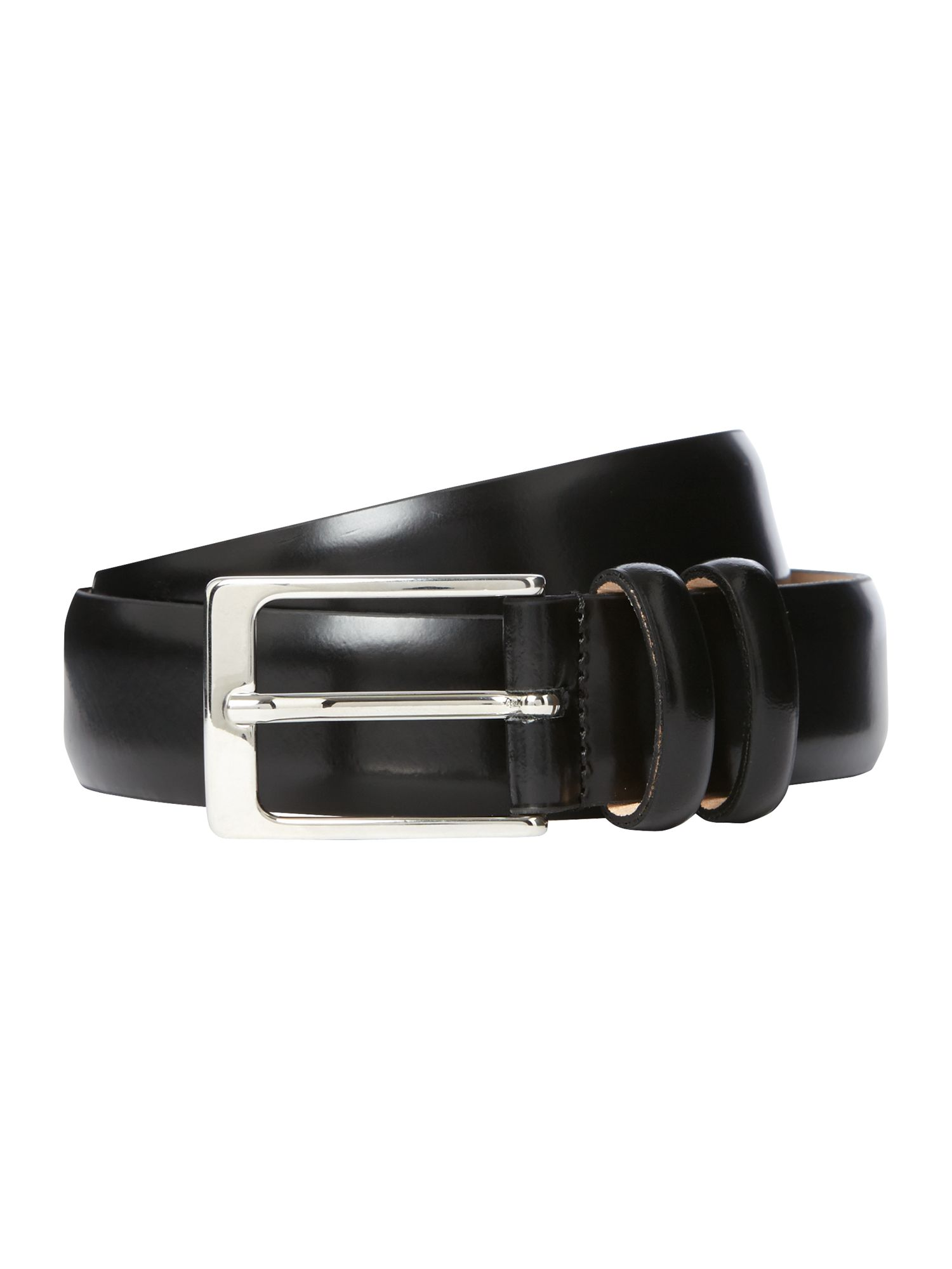 Formal high shine leather belt