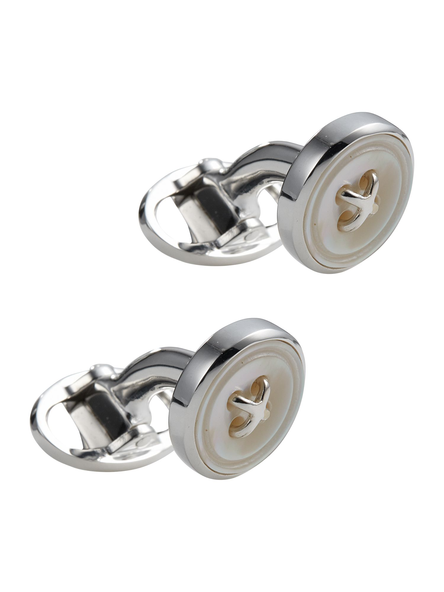 Mother of pearl button cufflink