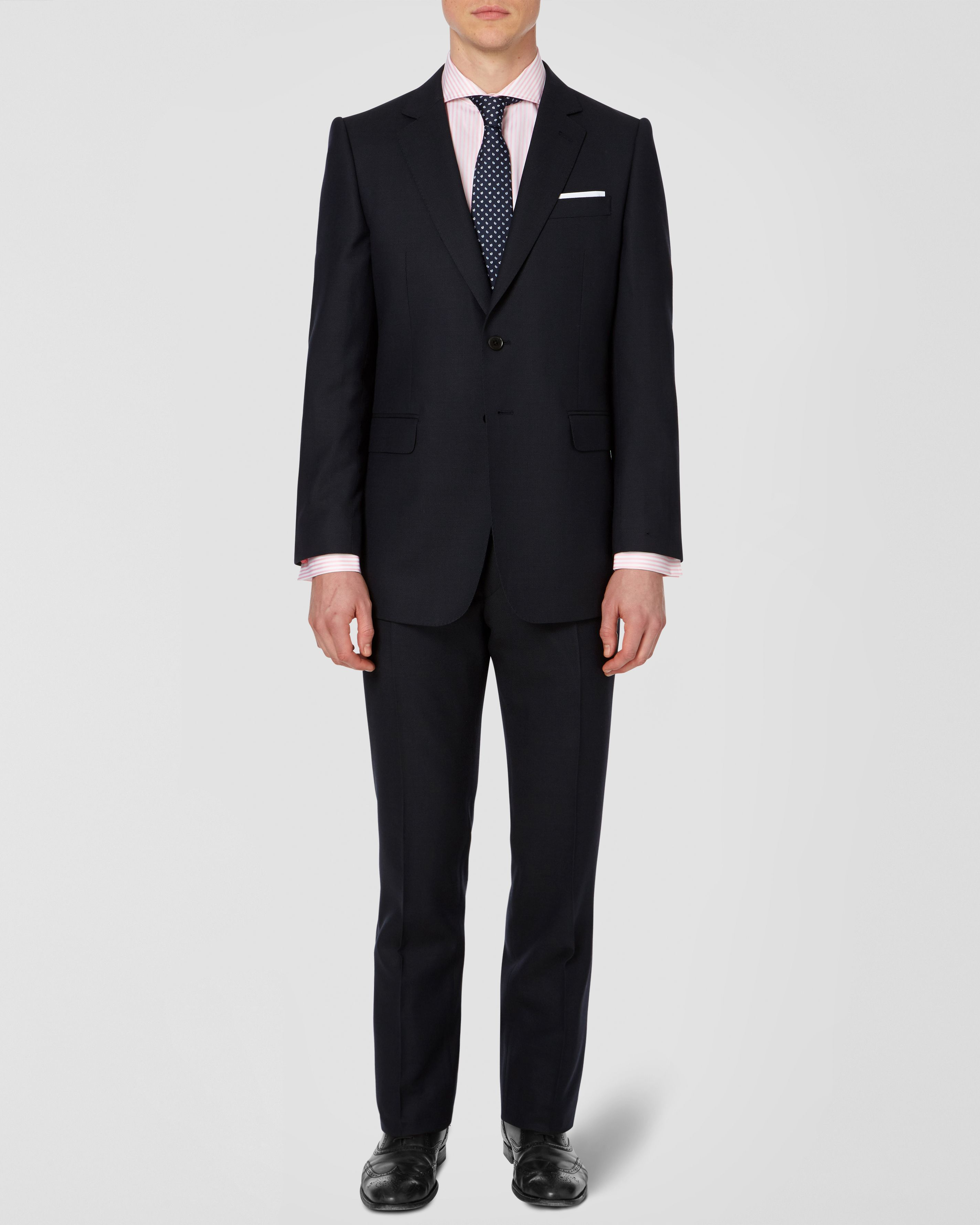 Birdseye single breasted suit jacket