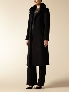 Jaeger: Long Length Fur Trim Coat