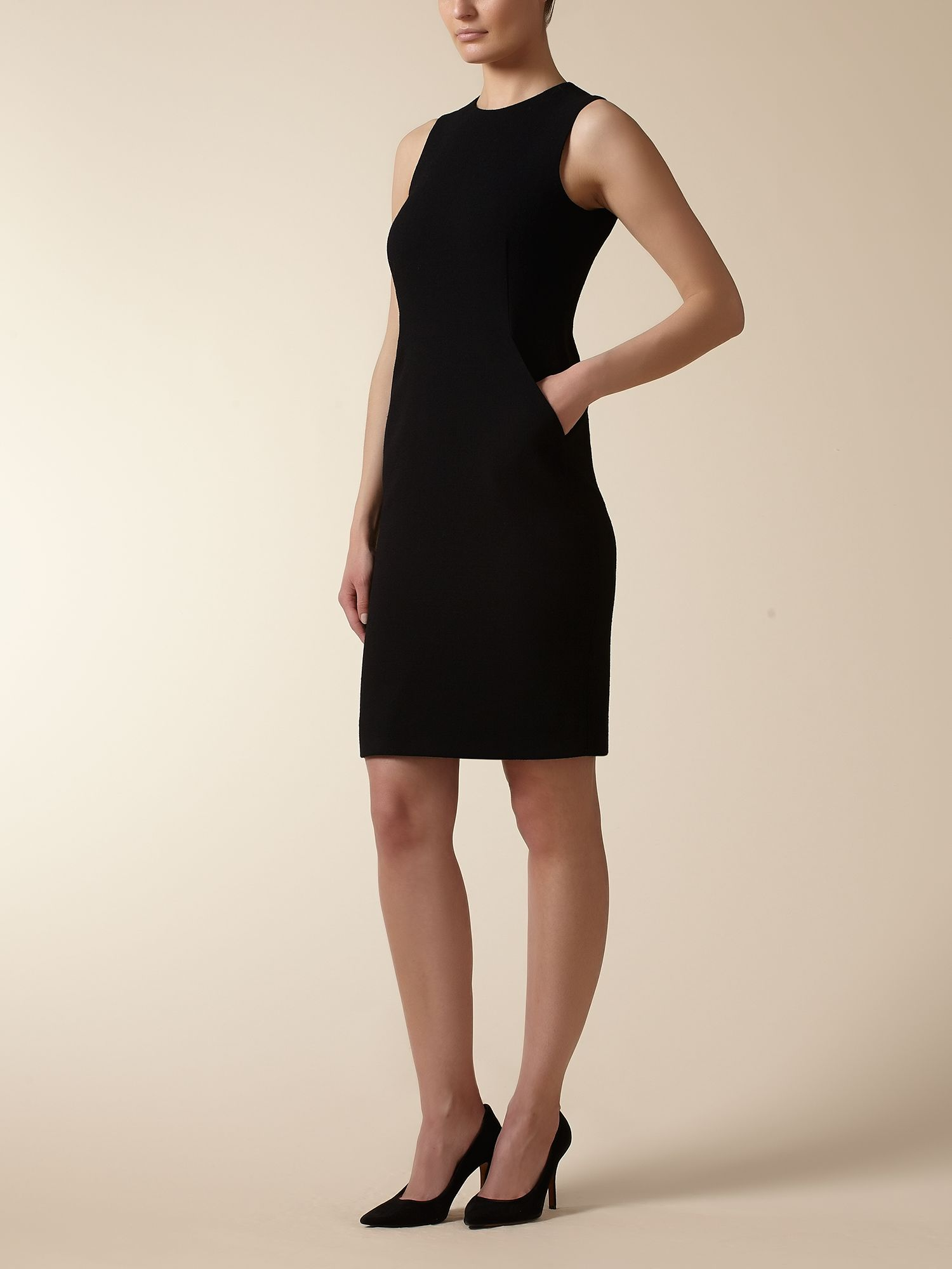 Jaeger: Wool/Crepe Sleeveless Dress
