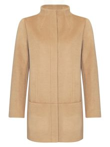 Wool Funnel Neck Car Coat