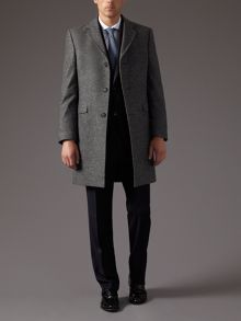Micro check wool coat