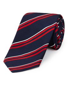 Double red stripe tie
