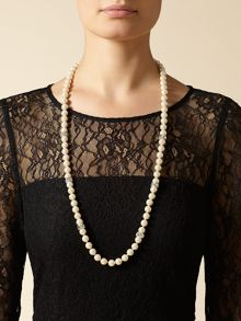 Long Pearl and Crystal Necklace