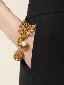 Chain Coin and Pearl Bracelet