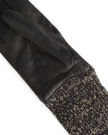 Wool and leather 3/4 length glove