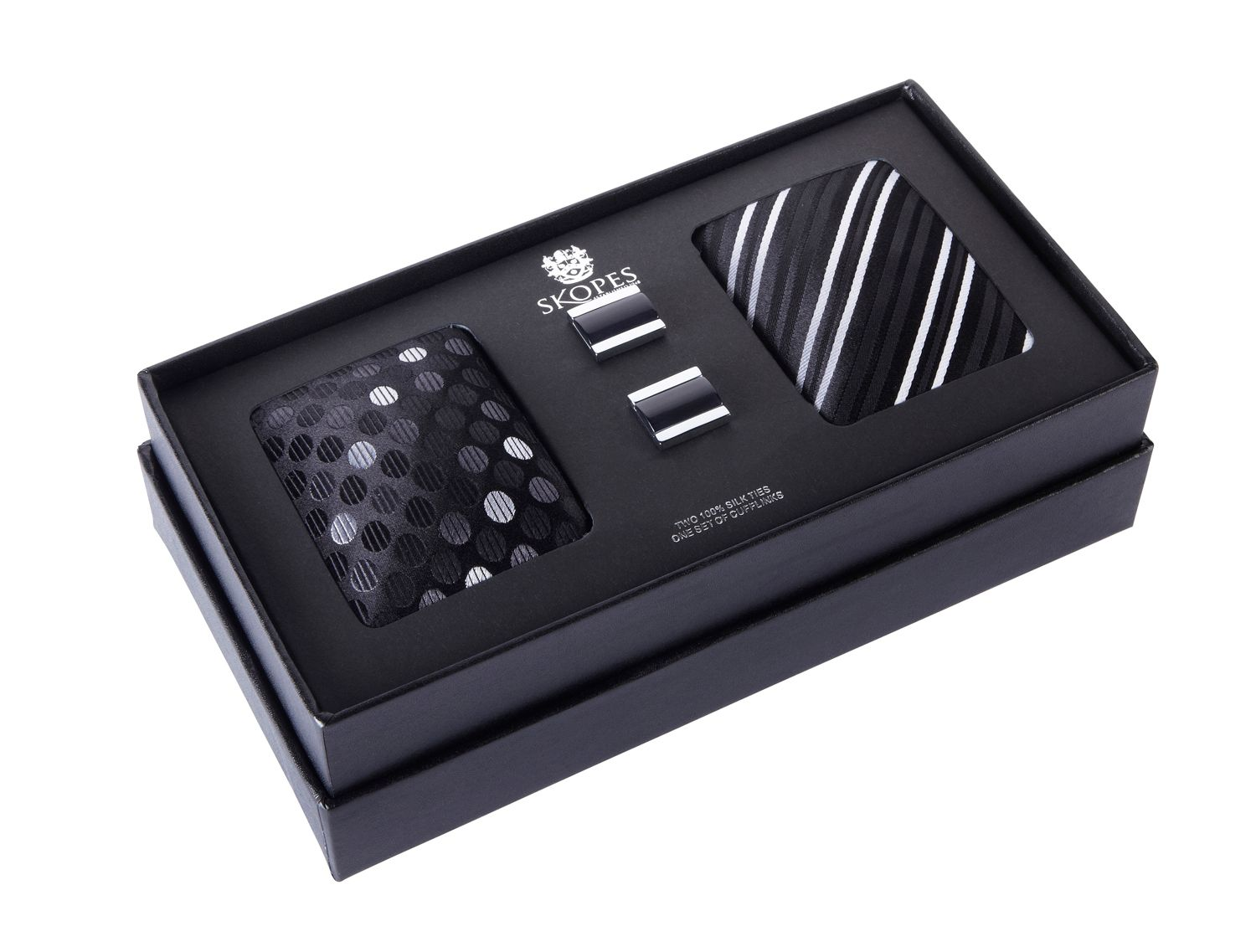 Twin silk tie and cufflink gift set