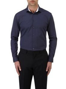 Textured Slim Fit Long Sleeve Formal Shirt