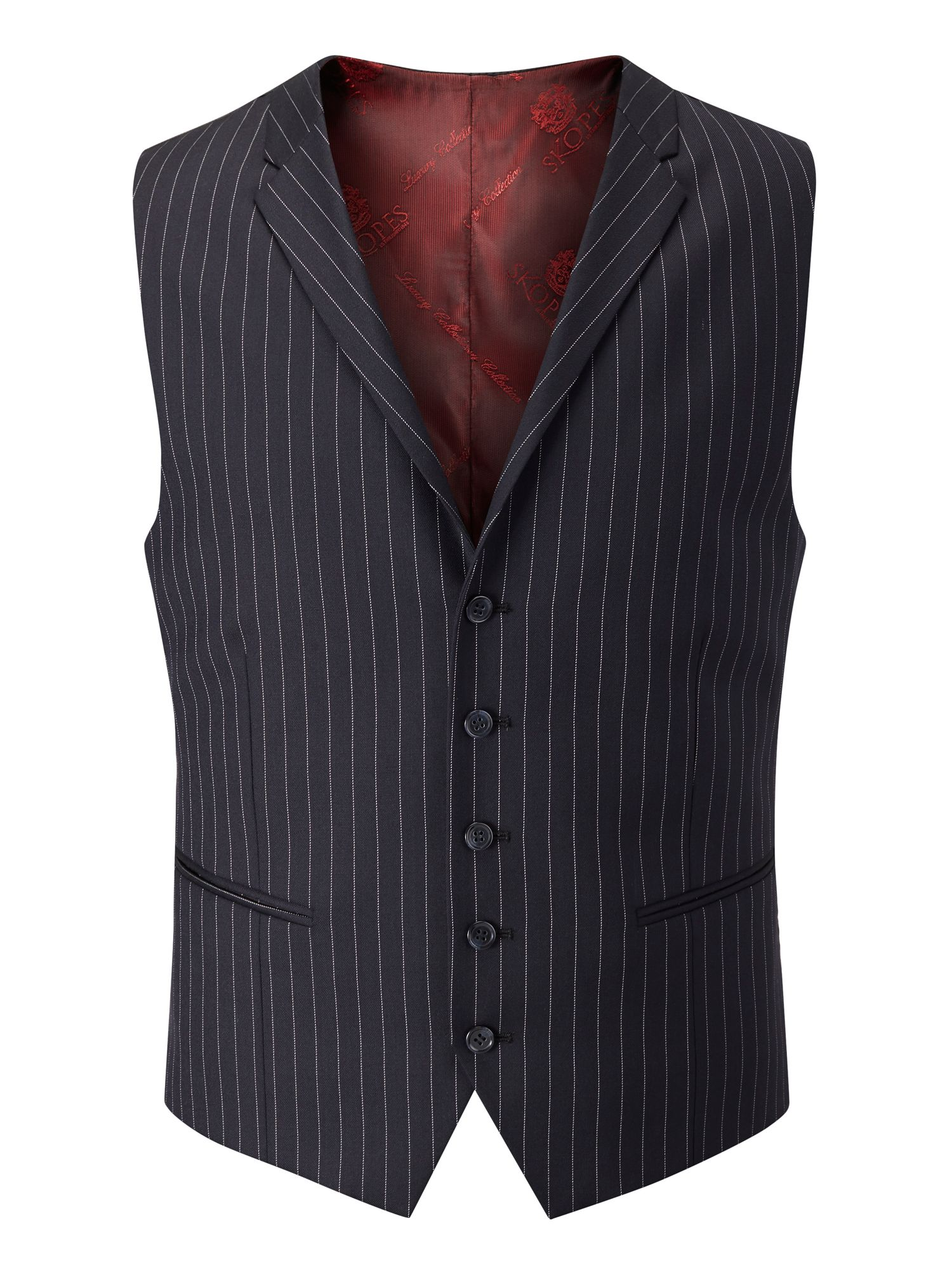 Mens Skopes Phillip Stripe Notch Collar Classic Fit Waistcoat $29.00 AT vintagedancer.com