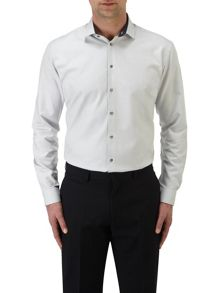 Textured Slim Fit Long Sleeve Cutaway Collar Form