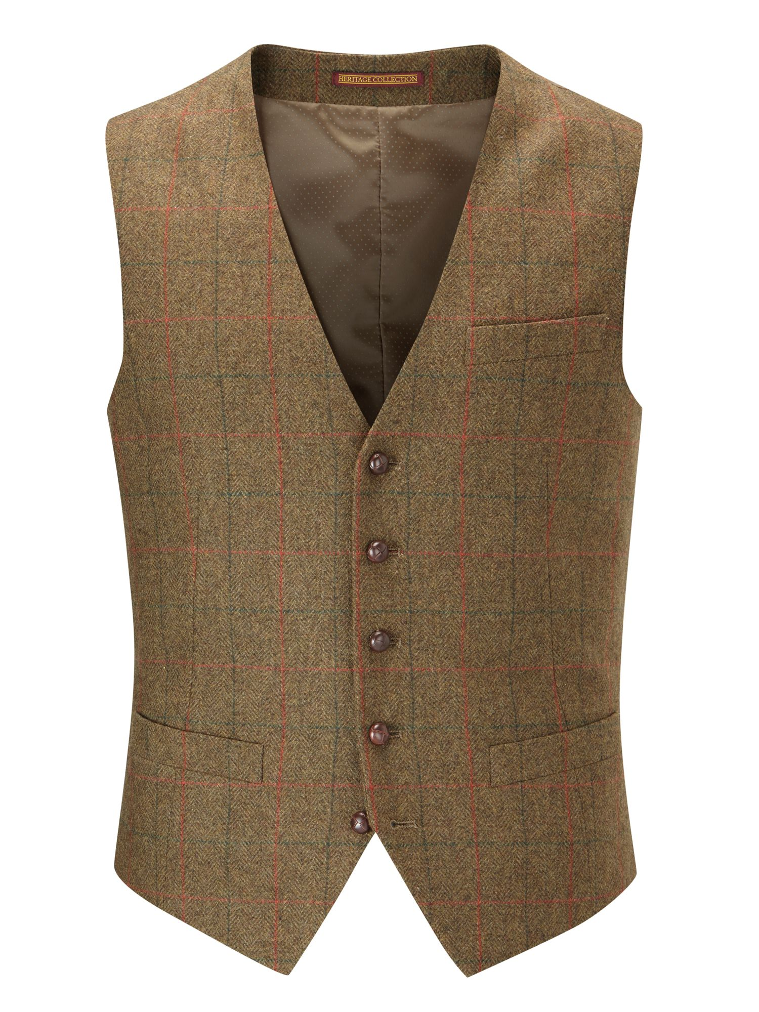 Brown Waistcoats. Our selection of brown waistcoats will have you covered all year round. From summery beige linen to autumnal earth tweed, a brown waistcoat will add a classic touch to your outfit.