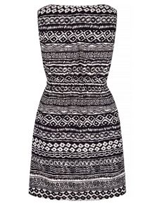 Yumi Monochrome Aztec Print Shift Dress
