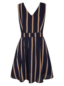 Yumi Vertical Stripe Skater Dress