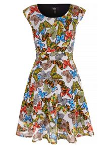 Yumi Mixed Butterfly Print Skater Dress