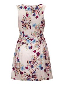 Yumi Rose and Leaf Print Occasion Dress