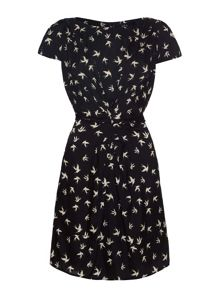 Yumi Swallow Print Gathered Day Dress