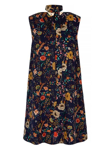 Yumi 70s Floral Print Tie Neck Dress