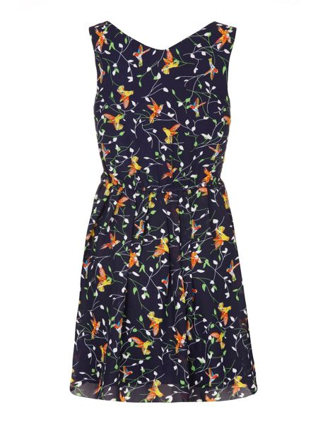 Yumi Bird on a Branch Print Day Dress
