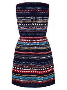 Yumi Bright Aztec Print Shift Dress