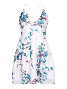 Yumi Bird and Floral Pirint Halterneck Dress