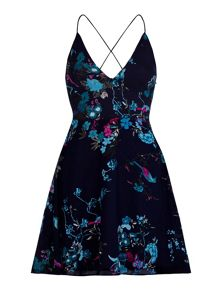 Yumi Bird and Floral Print Halterneck Dress
