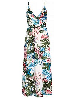 Tropical Palm Floral Print Maxi Dress