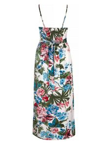 Yumi Tropical Palm Floral Print Maxi Dress