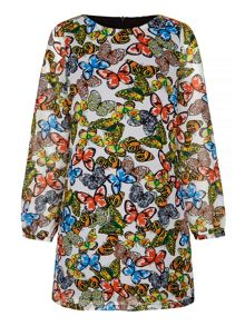 Yumi Butterfly Print Tunic Dress