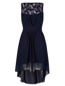 Yumi Lace Neckline High Low Dress